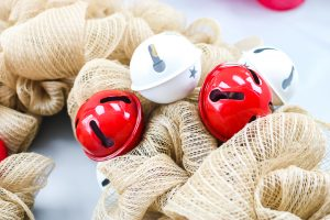 jingle bells on a reindeer wreath