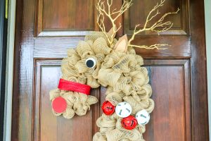 reindeer wreath from a candy cane wreath form