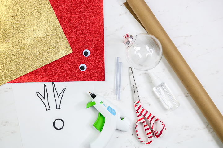 supplies to make an ornament from kraft paper