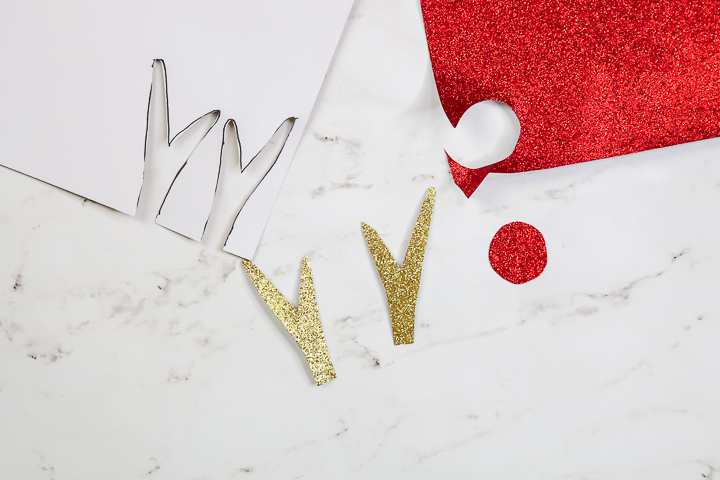 antlers and nose cut from glitter paper