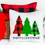Free Merry Christmas SVG File with Buffalo Plaid Trees