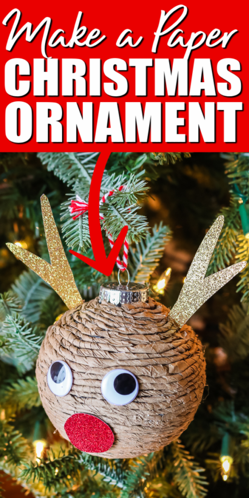 Grab a few easy supplies and make this DIY paper ornament for your tree! This cute reindeer will look great and is simple to make! #ornament #christmas #holiday #christmascrafts
