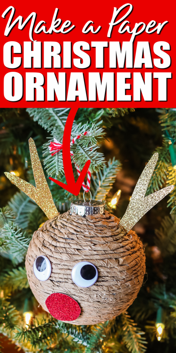 Grab a few easy supplies and make this DIY paper ornament for your tree! This cute reindeer will look great and is simple to make!