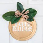 happy holidays door hanger