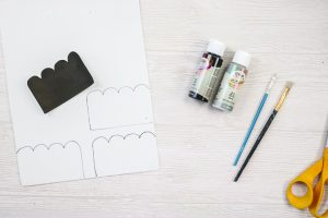 tracing a template onto craft foam