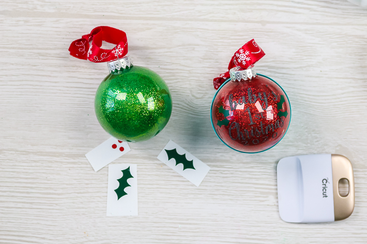 glitter ball ornaments with vinyl