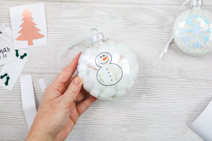 vinyl snowman on an ornament