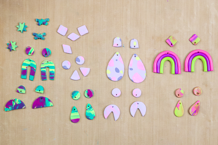 earring shapes but from oven bake clay