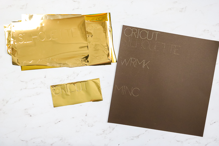 different foils applied with the foil transfer tool from cricut