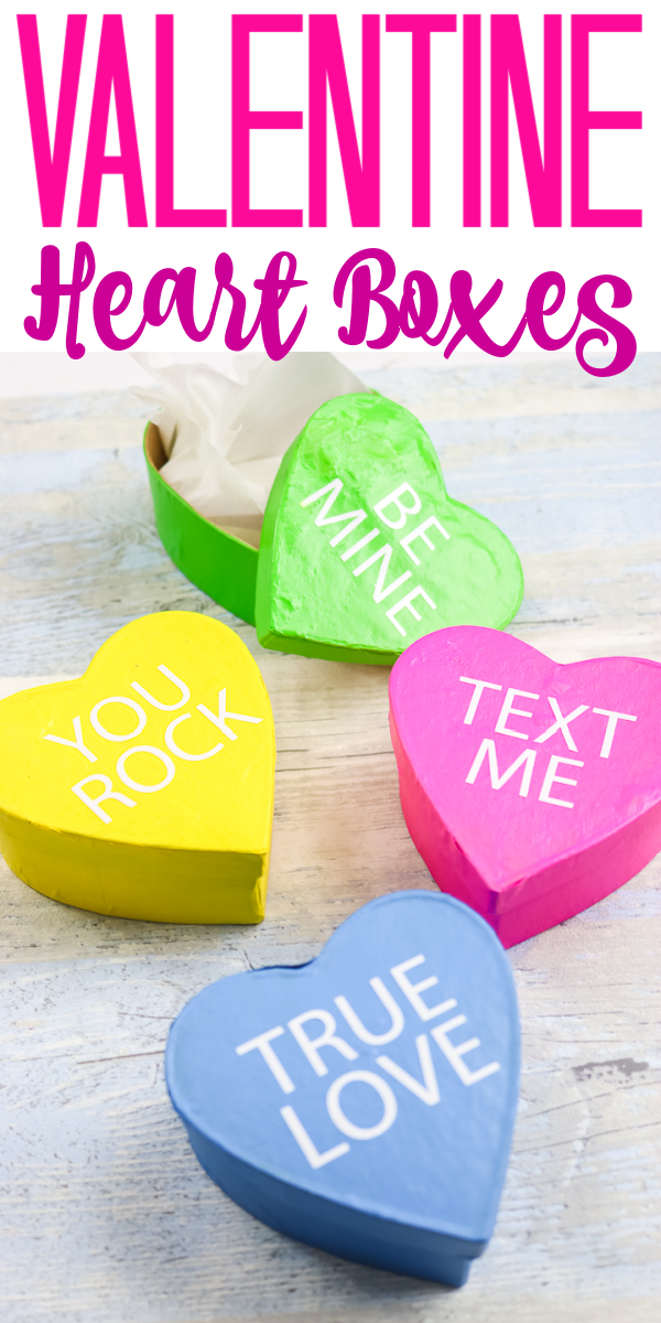 Make Valentine heart boxes to give as gifts or to decorate your home! Use your Cricut and our free cut file to add words! #valentinesday #conversationhearts #valentinecraft