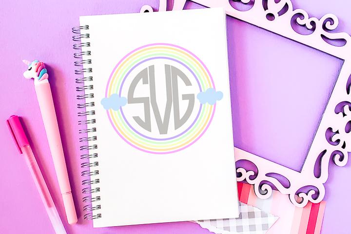 rainbow monogram frame
