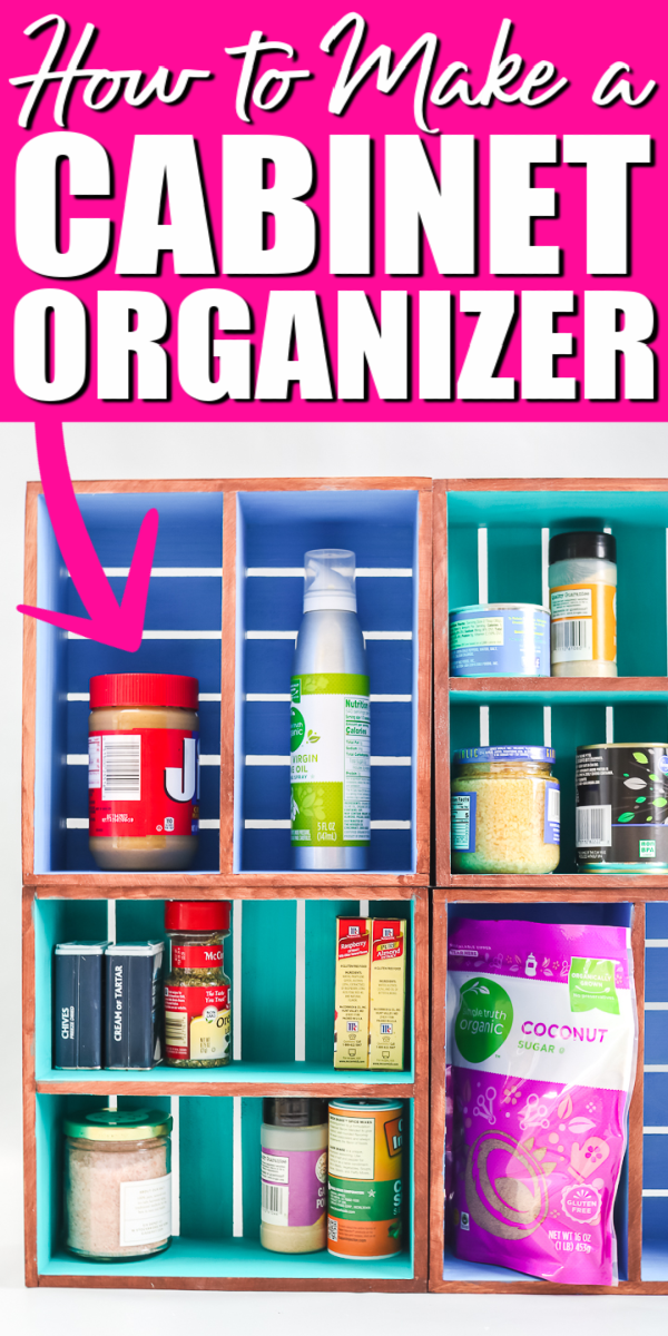 Grab the supplies to make this DIY cabinet organizer for your kitchen! Make this in any size to organize any cabinet in your home! #organizer #organize #cabinets #kitchen