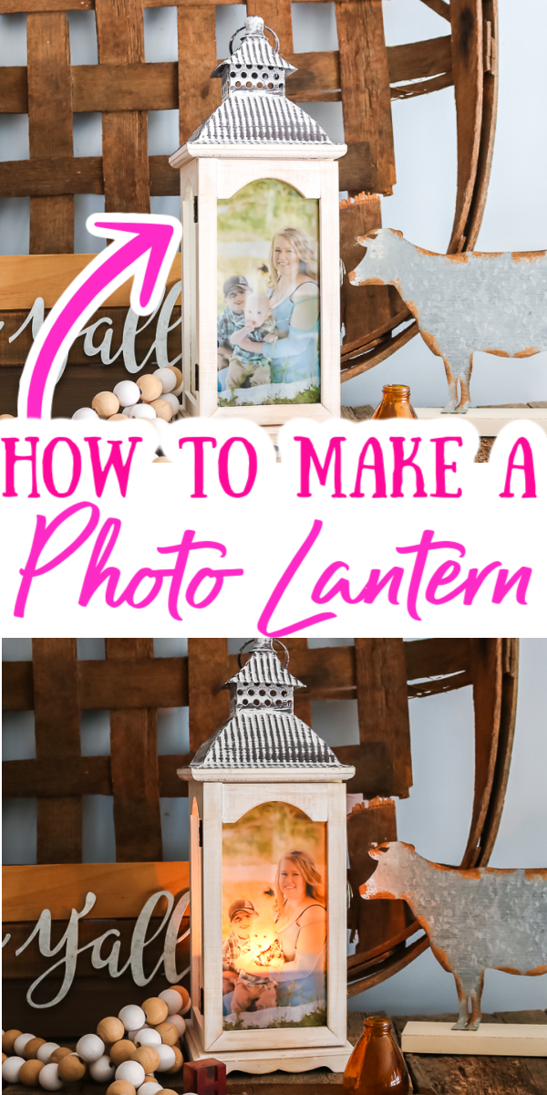 Learn how to make a photo lantern for anyone on your gift giving list! They will love this personalized gift that is easy to make! #giftidea #easycrafts #quickcrafts #lantern #photogift