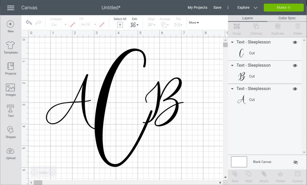 monongram with script font in Cricut Design Space