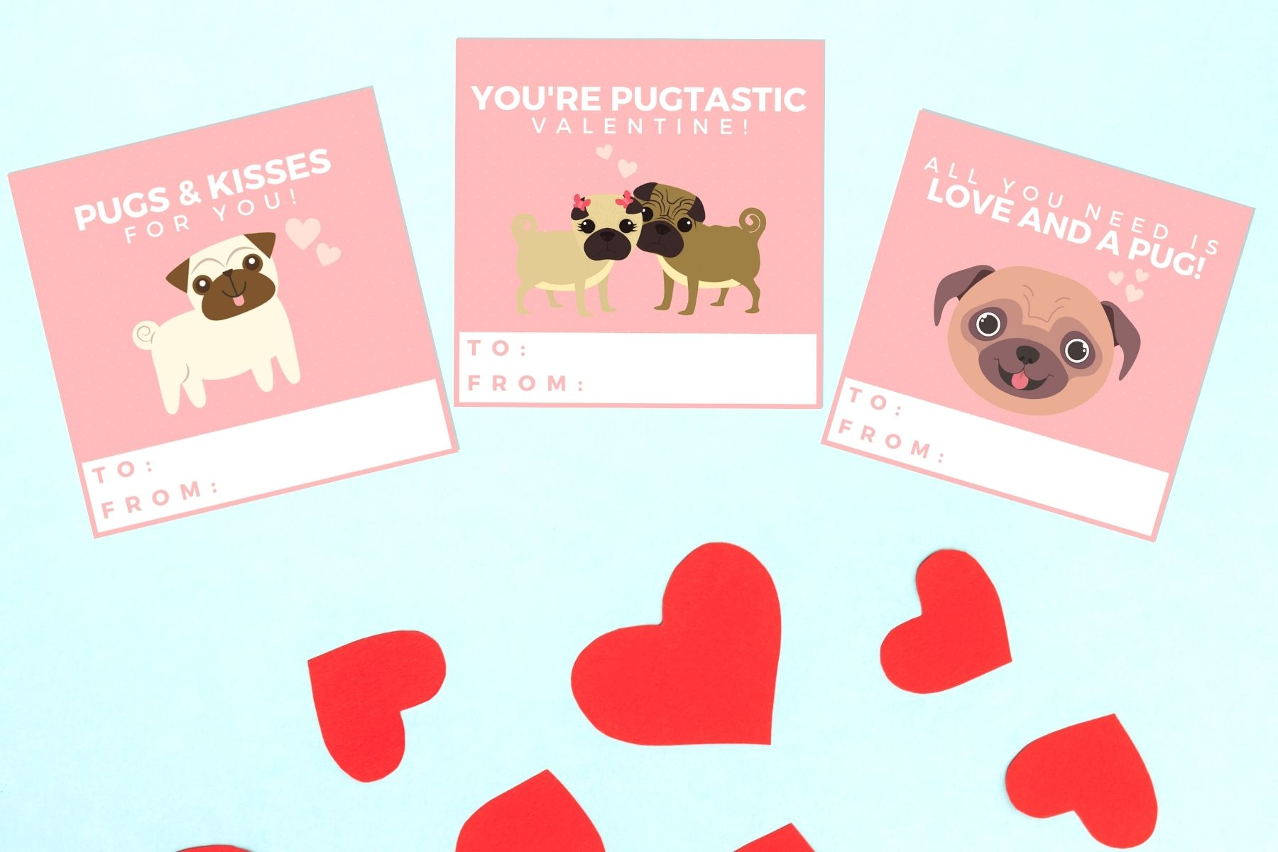 pug valentine's day cards