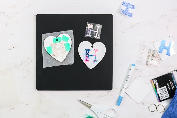 infusible ink taped to sublimation blank