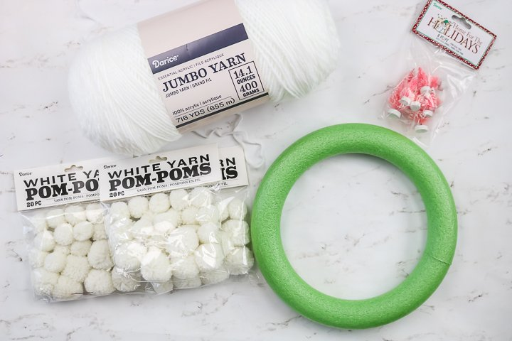 supplies to make a wreath for winter