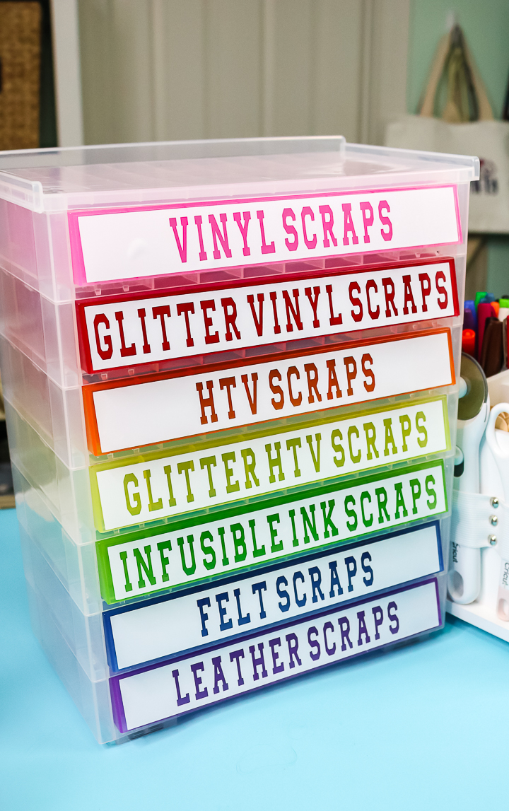plastic drawers with vinyl labels