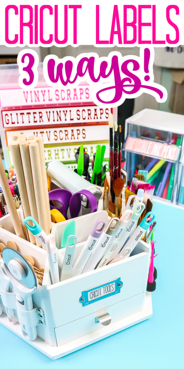 Learn about 3 ways to make Cricut labels! Great ideas for organizing every room in your home in minutes! #labels #cricut #cricutmade #organization