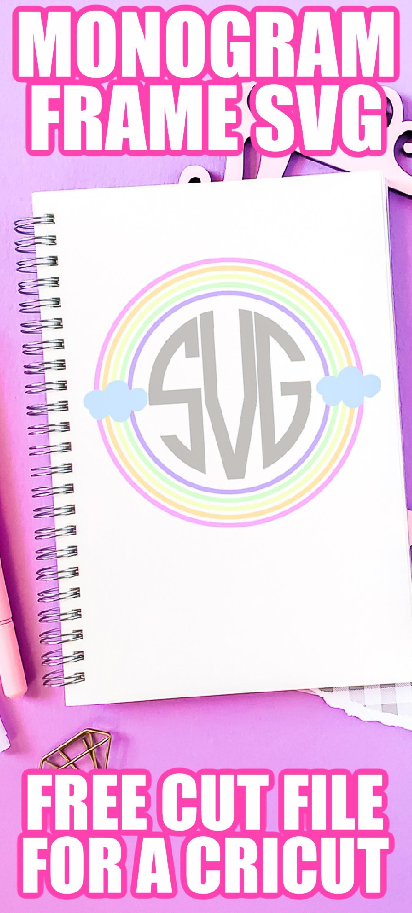 rainbow monogram frame svg