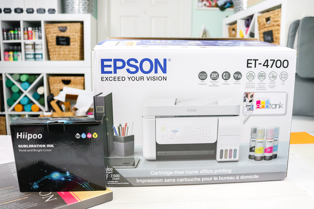 epson ecotank printer and hiipoo sublimation ink on a table