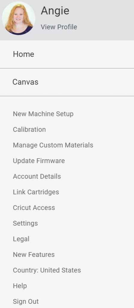 finding the custom material settings in design space