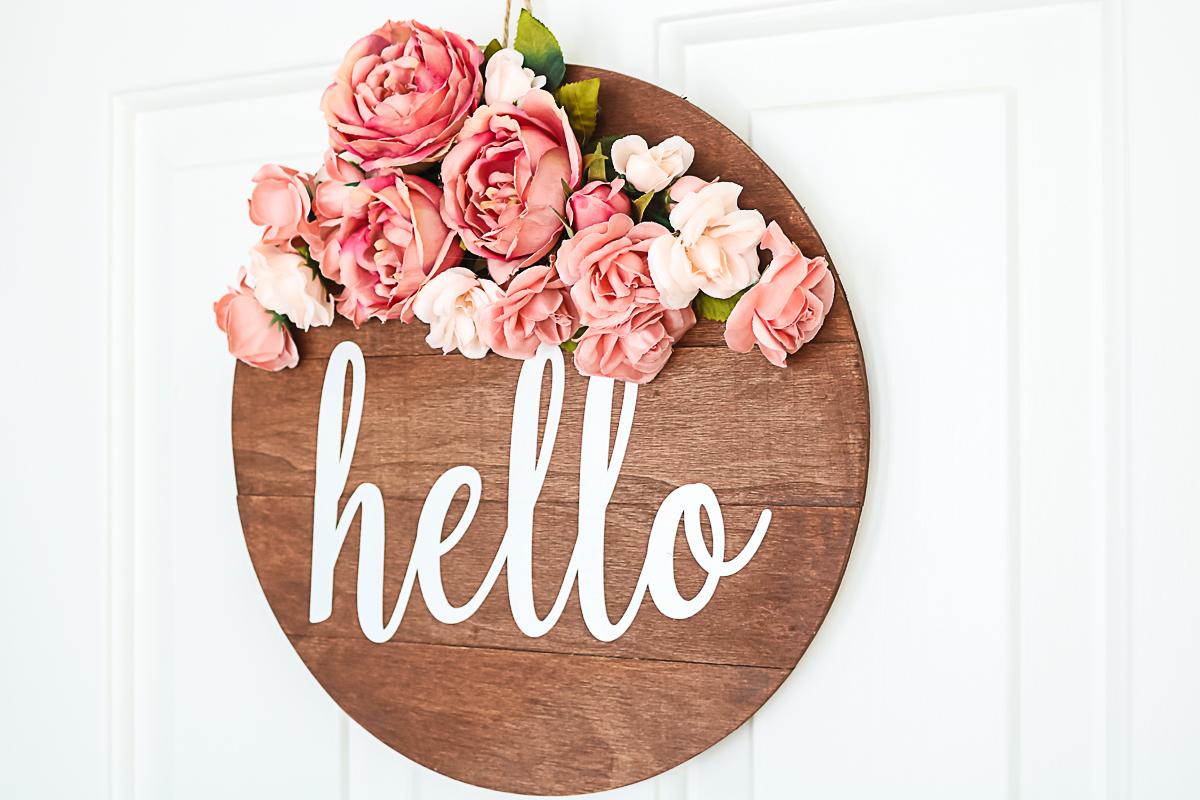 wood door hanger with flowers