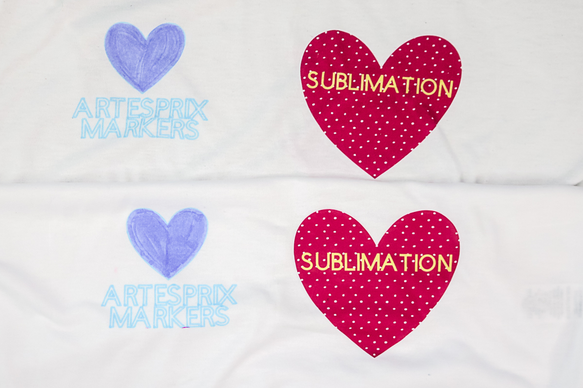 comparison of sublimation ink on a shirt