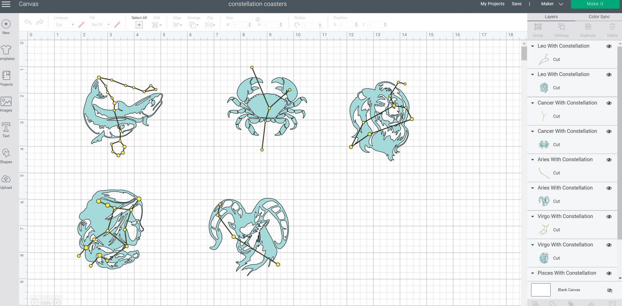 zodiac sign designs in cricut design space