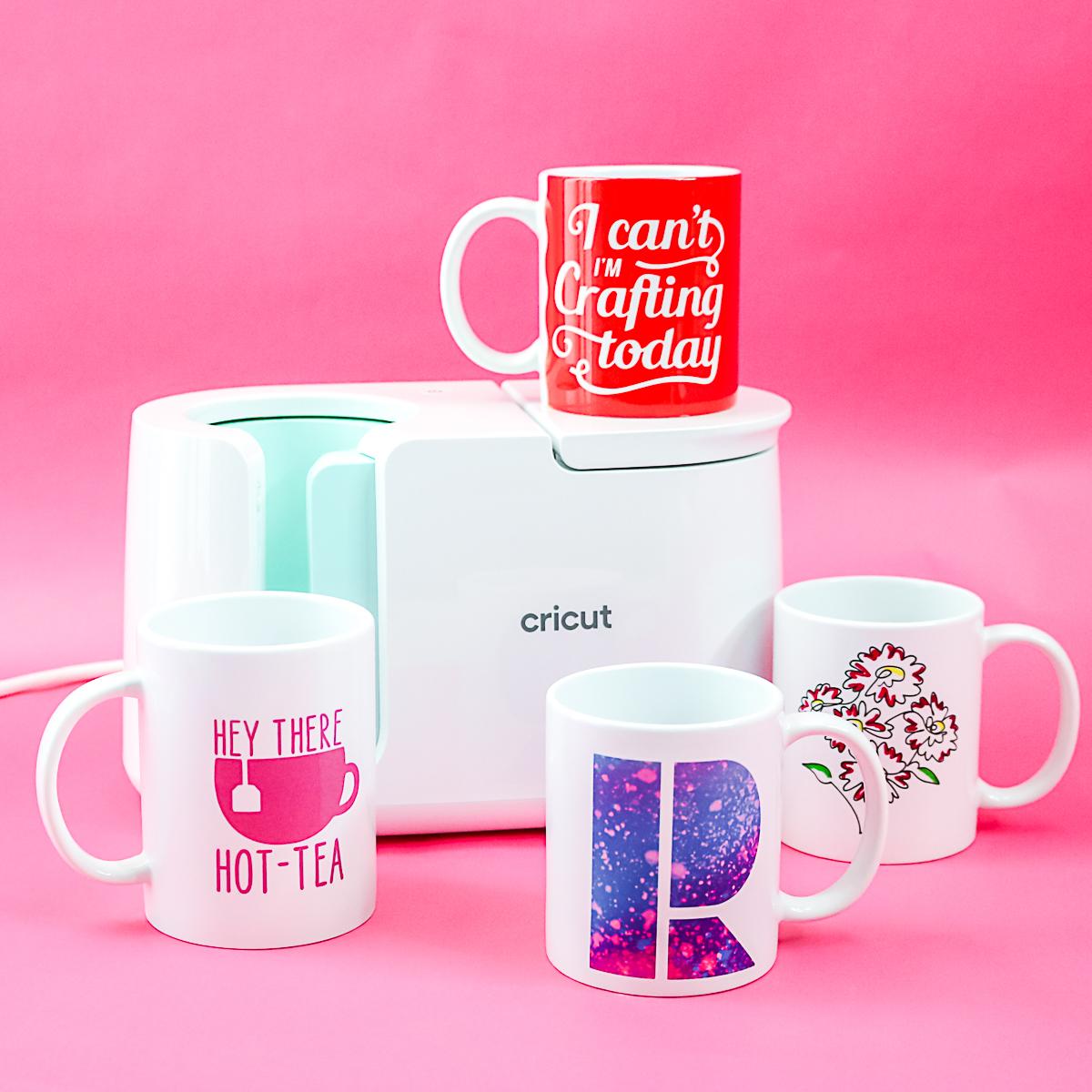 variety of mugs made with a cricut mug press