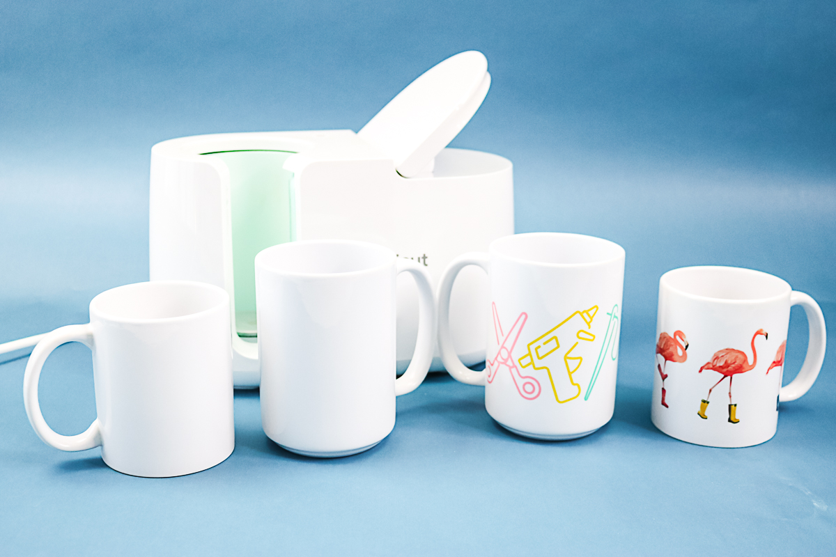cricut mug press with various sublimation mugs
