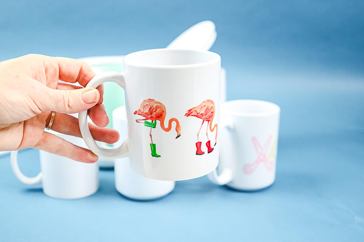 flamingo in rain boots mug