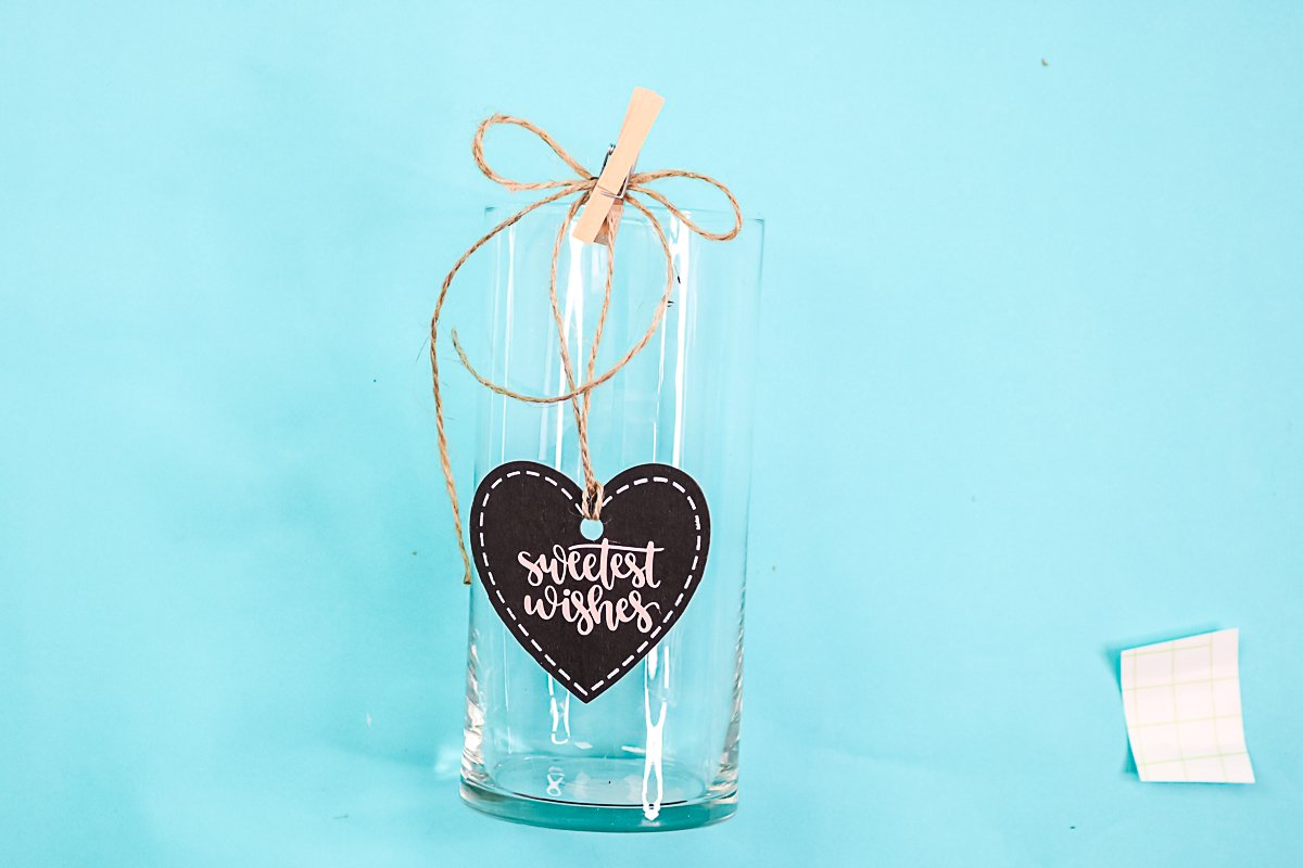 adding a chalkboard heart to a dollar store vase
