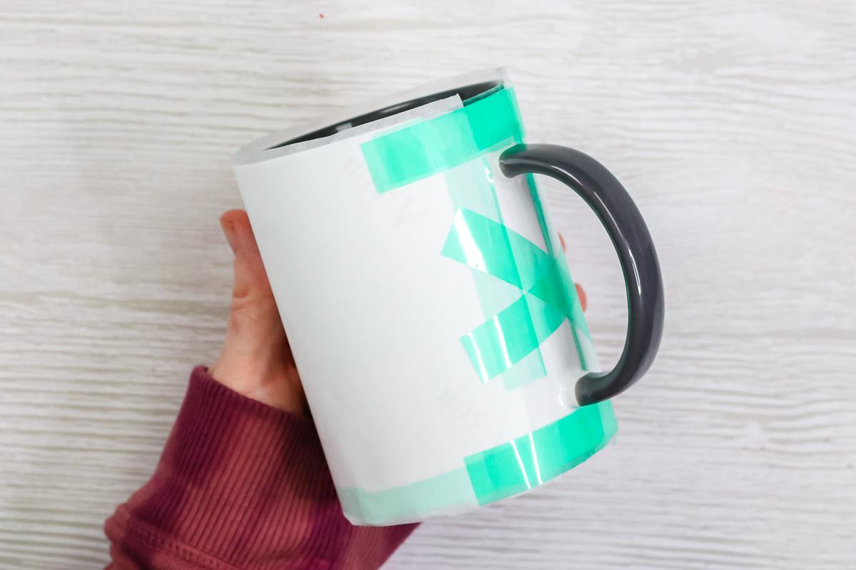 protective paper around a sublimation mug