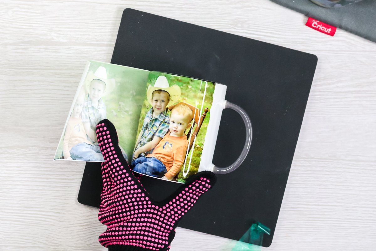 removing sublimation paper from a mug