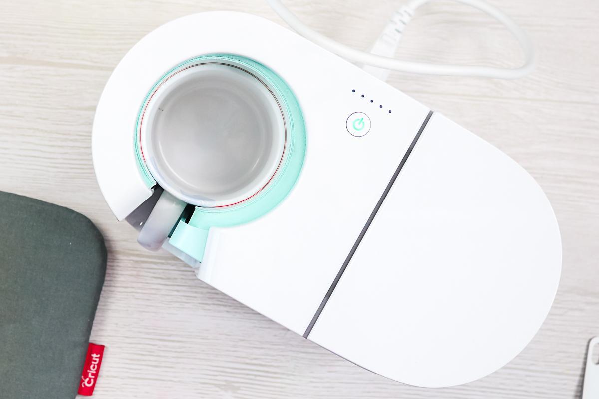 cricut mug press with mug inside