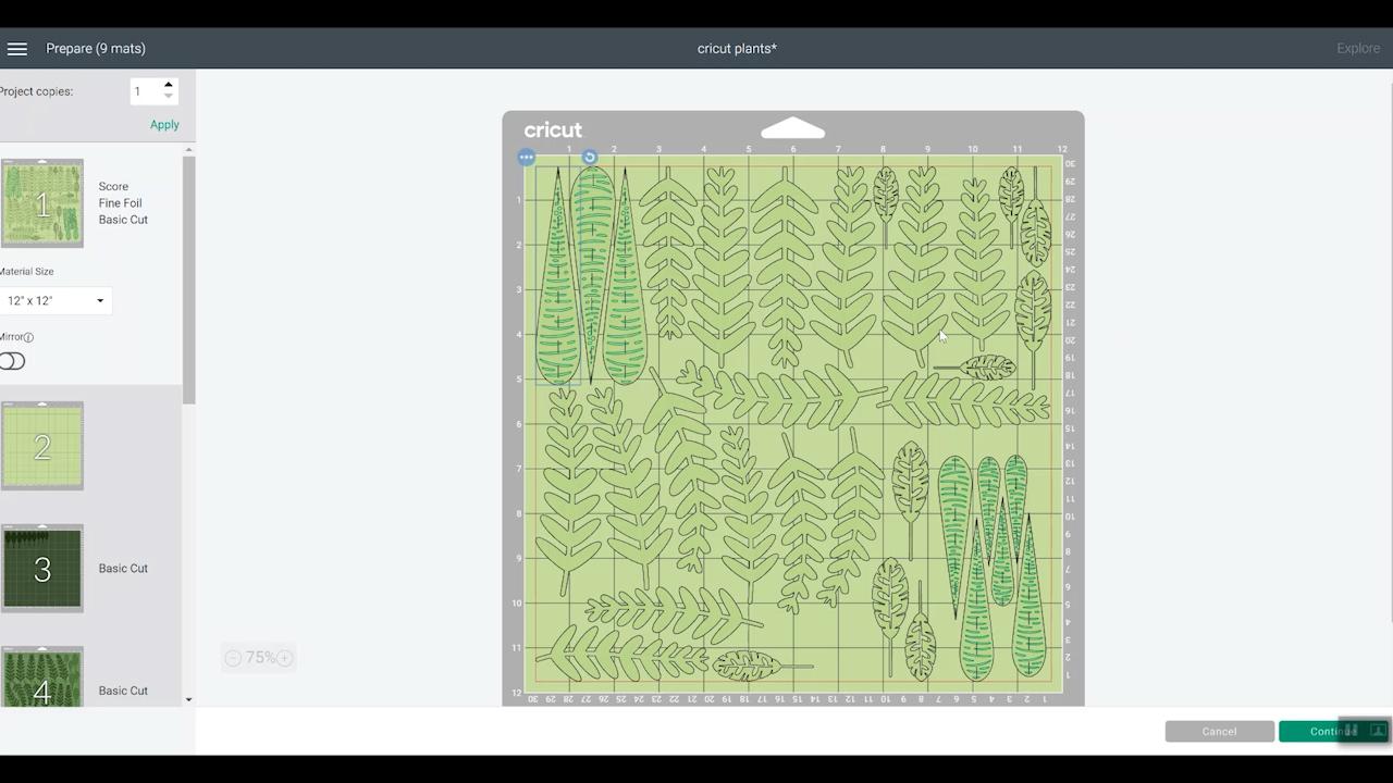 leaves for paper plants on a cricut design space mat