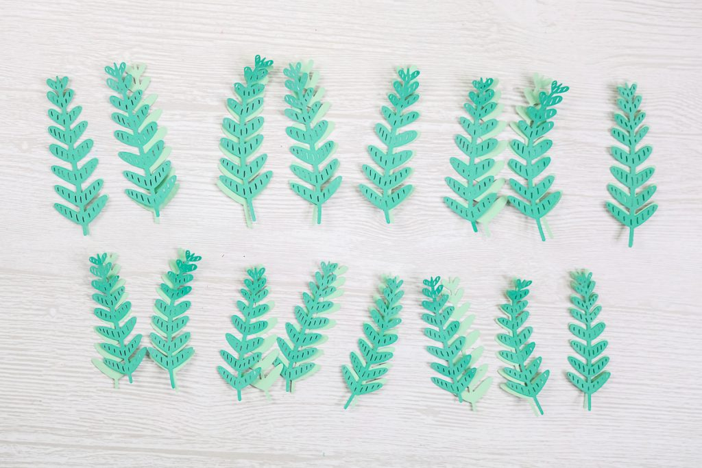 two layers of paper making up fern leaves