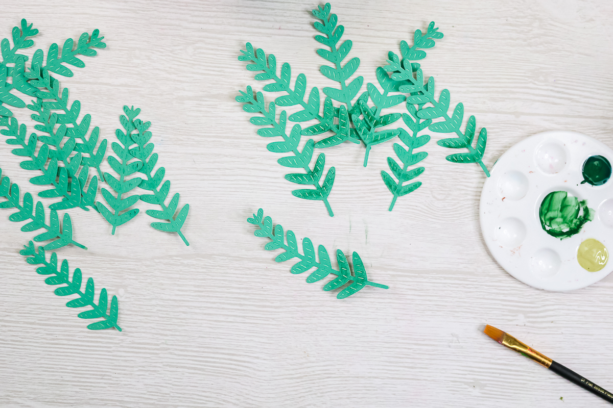 adding shading to fern leaves with paint