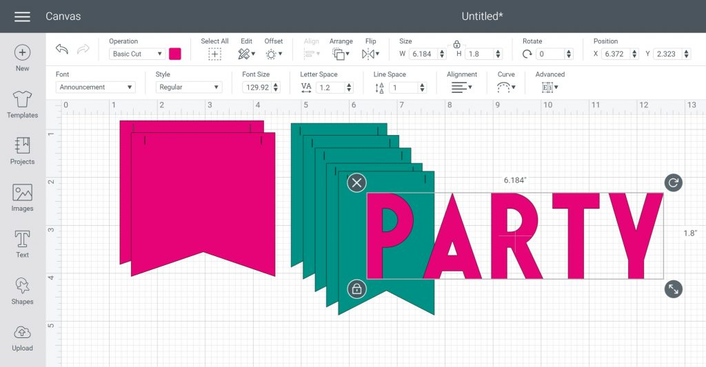 party words in cricut design space
