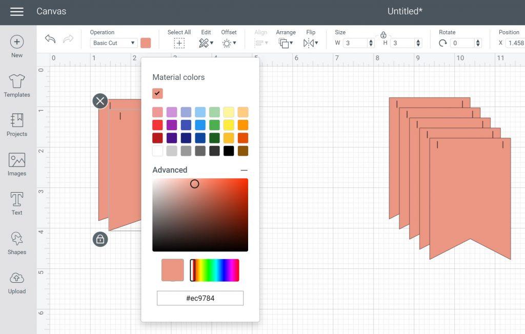 picking custom material colors in design space