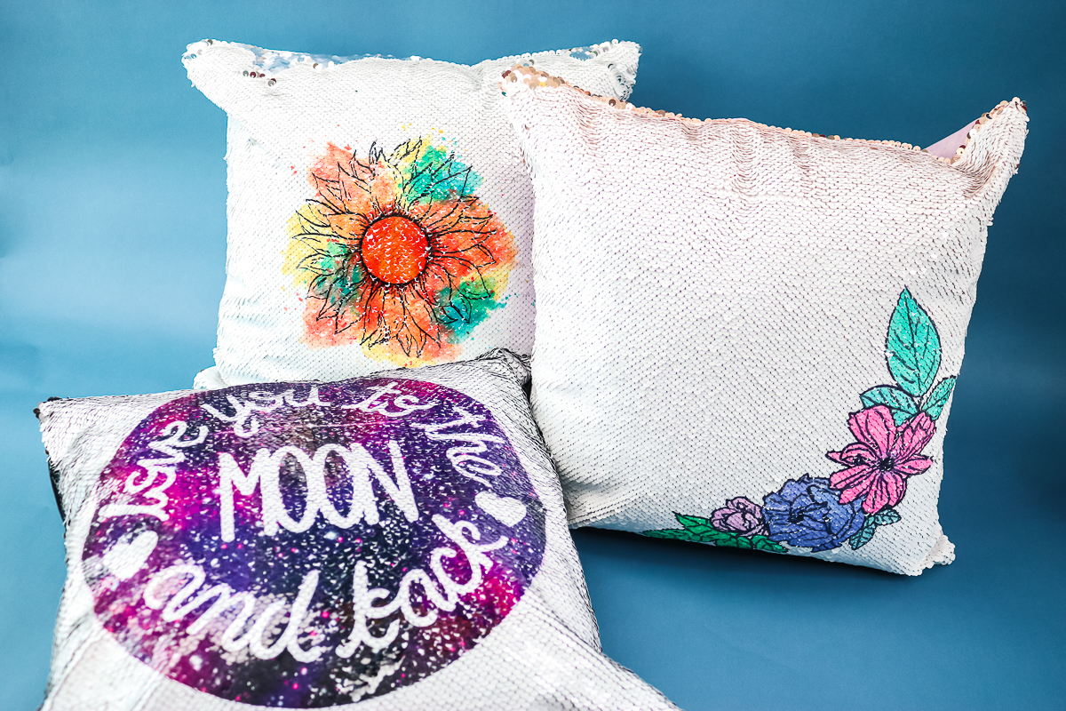 sequin pillow covers with designs