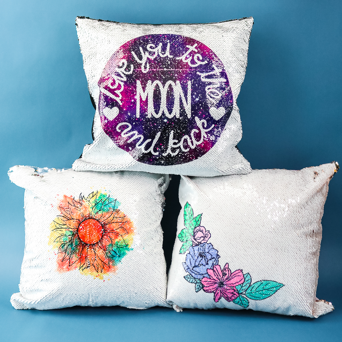 sublimation on sequins on pillow covers