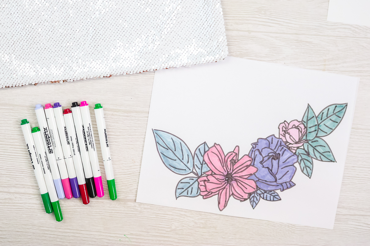 floral design colored with sublimation markers