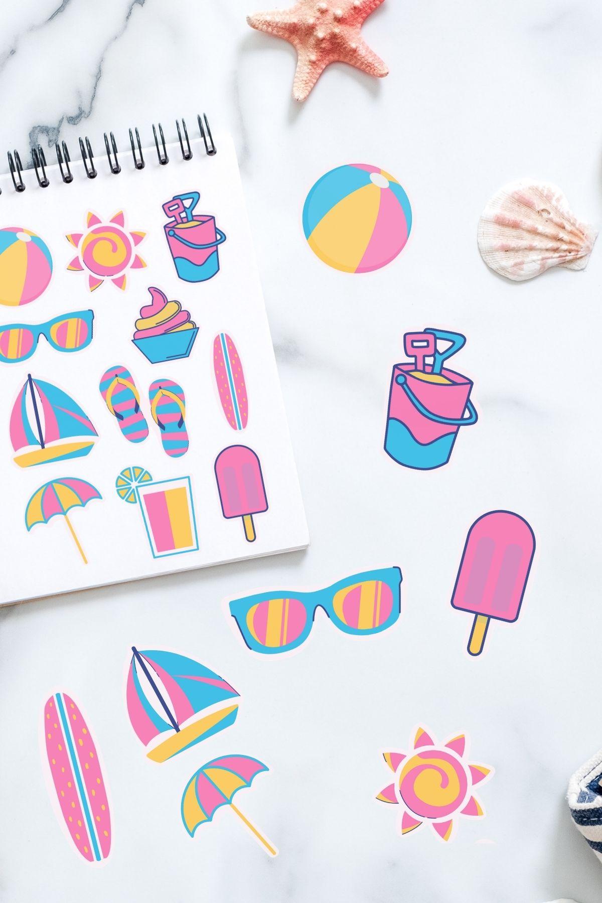 summer sticker sheet