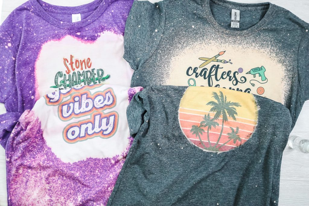 comparison of sublimation designs on shirts that have been bleached