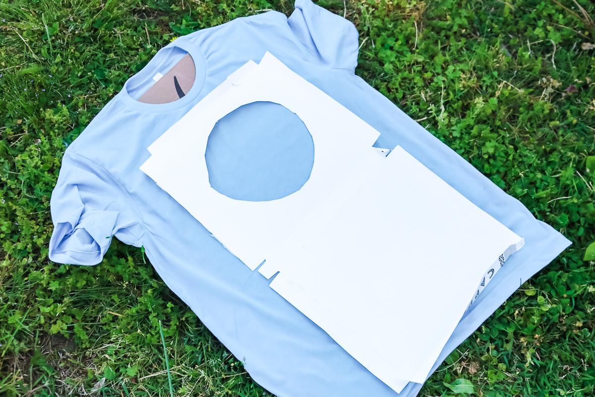 cardboard mask on a bleached shirt