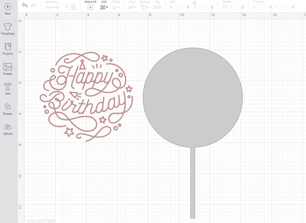 cake topper design in cricut design space