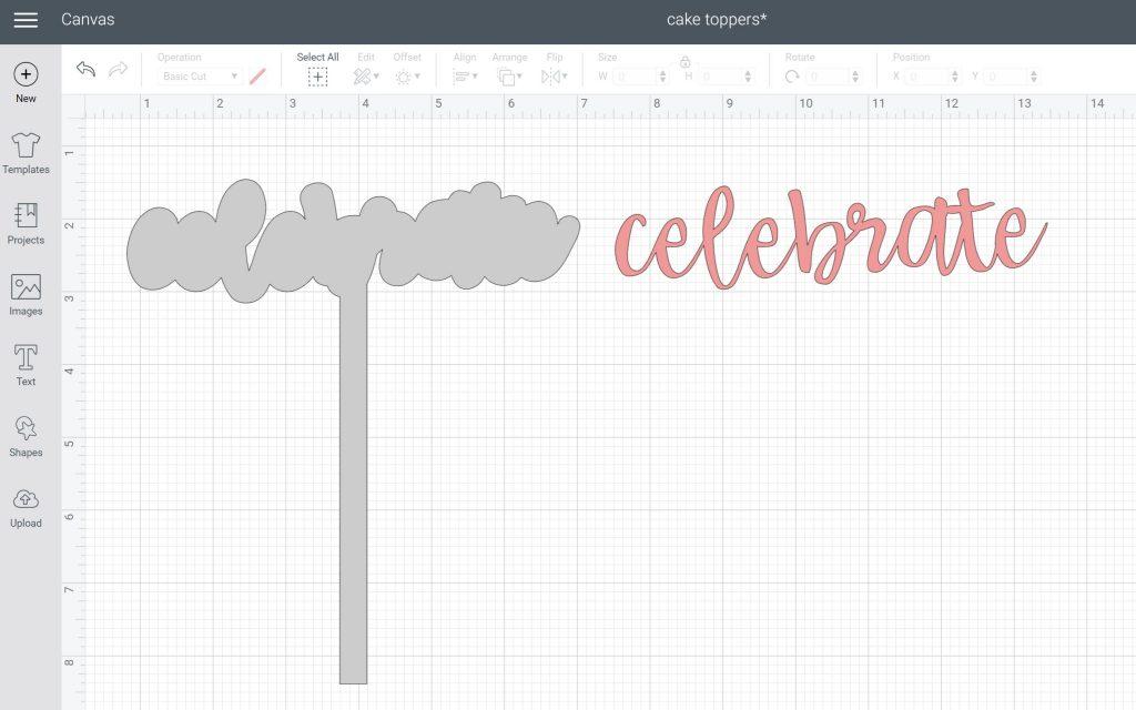 celebrate cake topper in cricut design space