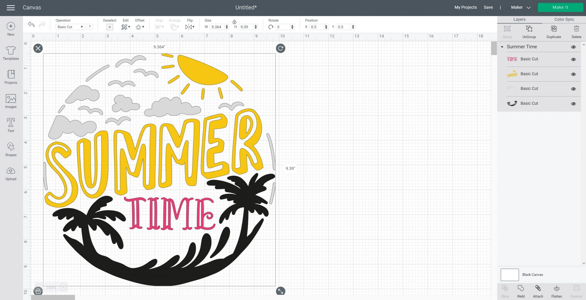 cricut design space image with several colors